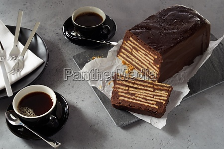 loaf shaped chocolate biscuit cake and