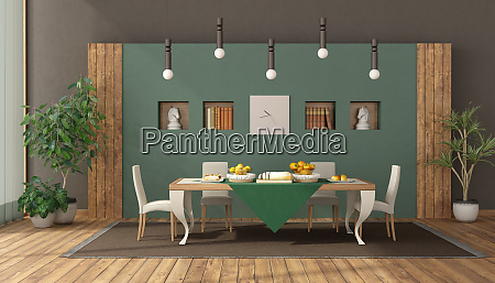 elegantes esszimmer mit tisch und stuhl