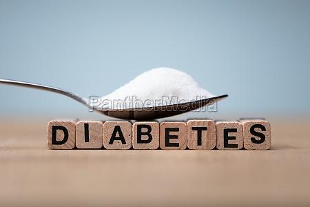 diabetes wort in der naehe loeffel