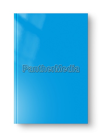 closed blue blank book isolated on