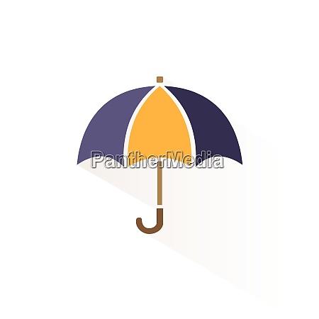 umbrella icon with shadow flat vector