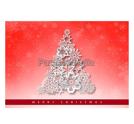 christmas greeting with paper snowflakes