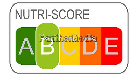 nutri score label b 5 farbiges