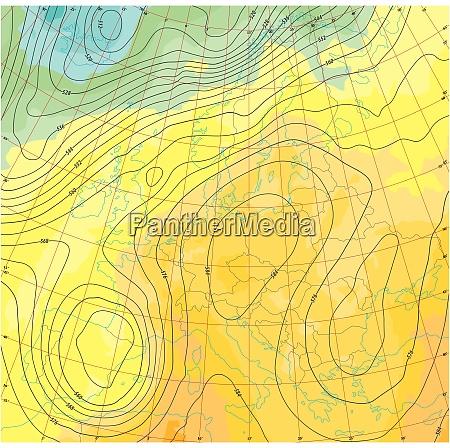 fiktive wetter und temperaturkarte von europa