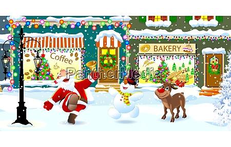 gluecklicher weihnachtsmann redesand und schneemann feiern