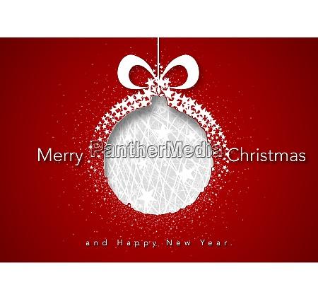 rotes weihnachtsgruss mit abstrakten weihnachtsball
