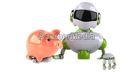 gruener roboter 3d illustration