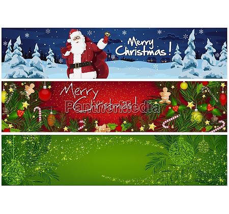 sammlung, von, drei, weihnachtsbannern - 27434821