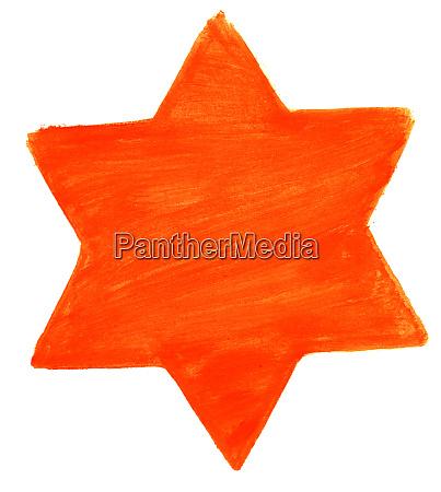 hand bemalt aquarell stern mit orange