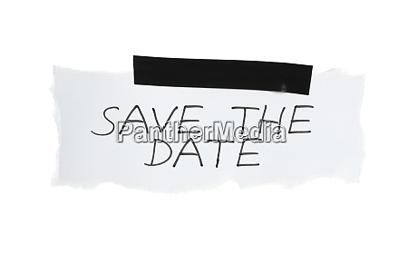 save the date on white paper