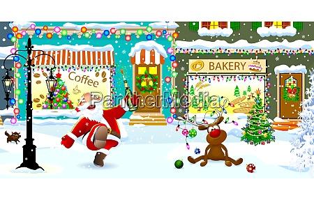 froehlicher weihnachtsmann und hirsche an heiligabend