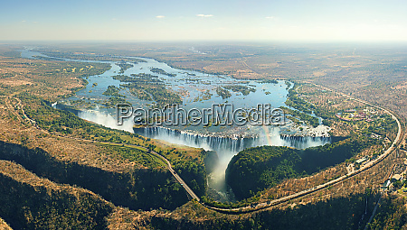 luftaufnahme von victoria falls sambia simbabwe