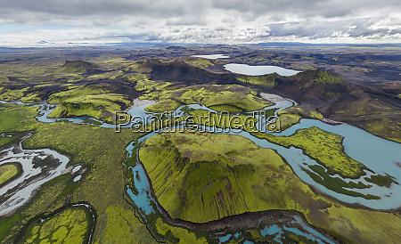 luftaufnahme von langisjor und veidivotn island