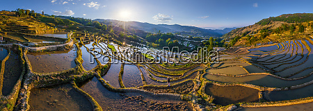 panorama luftbild landwirt auf den yuanyang