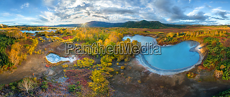 panorama luftbild von uzon caldera kamtschatka