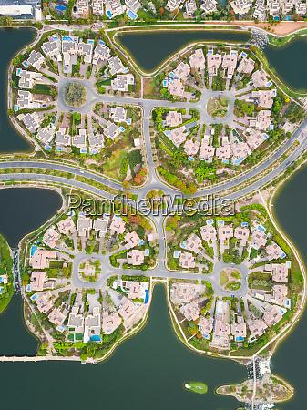 luftaufnahme der wohnsiedlung jumeirah islands in