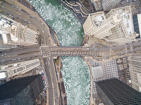 aerial view of frozen chicago river