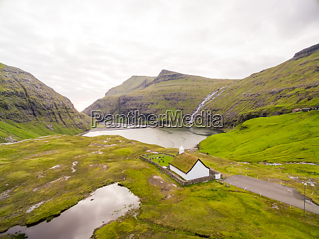 aerial view of lonely church near