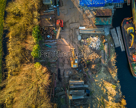 aerial view of an industrial working