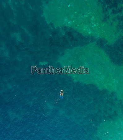 aerial view of woman swimming with