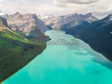 aerial view of lake louise surrounding
