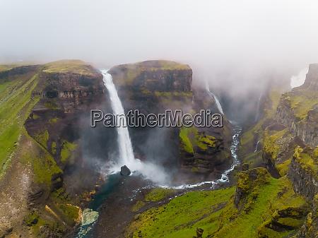aerial view of seljalansfoss waterfall on
