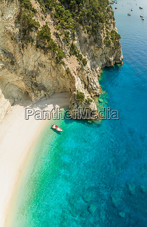 aerial view of boat anchored on