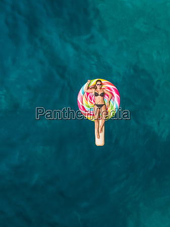 aerial view of beautiful woman in