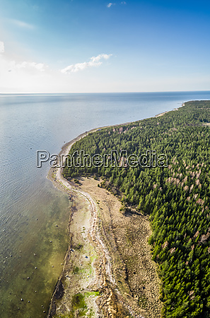 aerial scenic view of algae beach