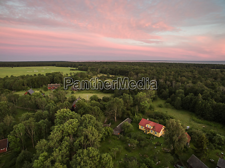 aerial view of houses in the