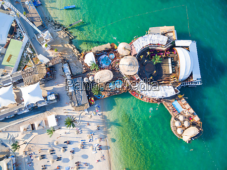 aerial view of beach and clubs