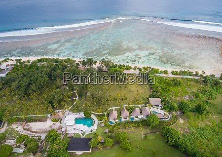 aerial view of small bungalow resort