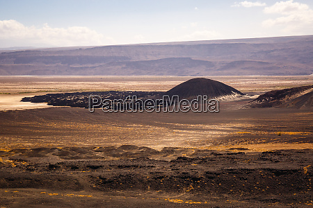 aerial view of volcanic hills in