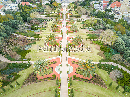 aerial view of bahai holy gardens