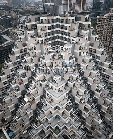 luftaufnahme des wohnturmblocks in shanghai china