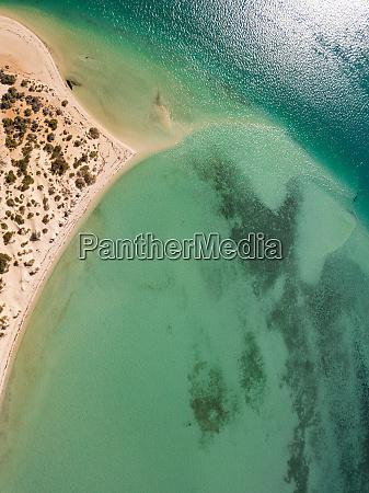 aerial view of monkey mia beach