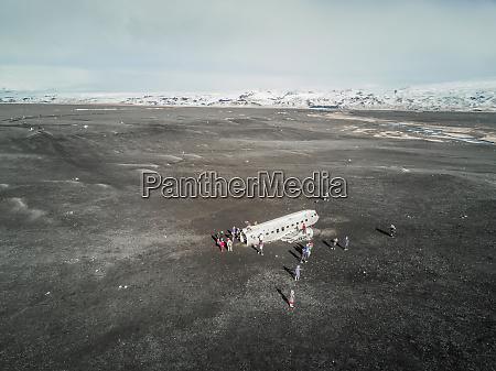 aerial view of solheimasandur plane wreck