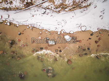 aerial view of snowy beach