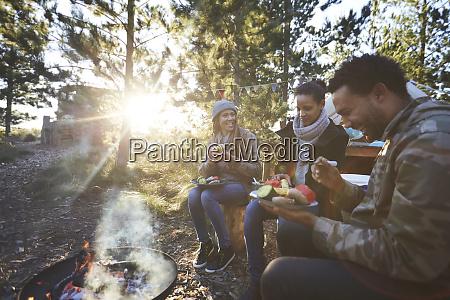 glückliche, freunde, essen, auf, sonnigem, campingplatz - 27458160