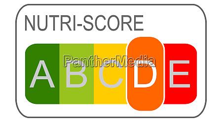 nutri score label d 5 farbiges