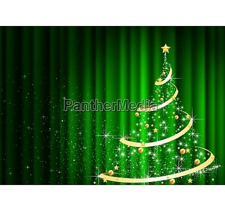 abstrakter weihnachtsbaum vor dem gruenen vorhang