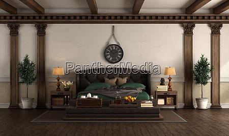 retro stil hauptschlafzimmer mit leder doppelbett