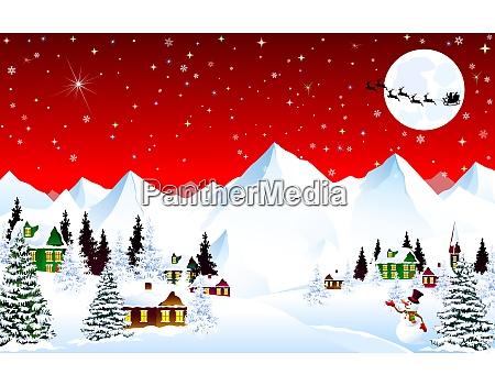 bergdorf winternacht weihnachten