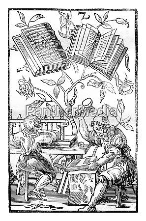 eine buchbinderwerkstatt im mittelalter vintage gravur