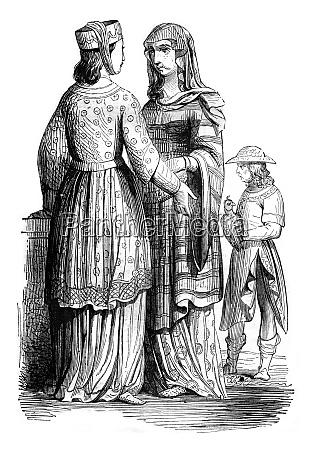 nobleman und noble ladies vintage gravur