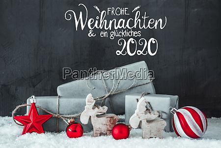 schnee geschenk rote dekoration glueckliches 2020