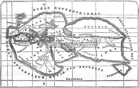 karte der erde vintage gravur