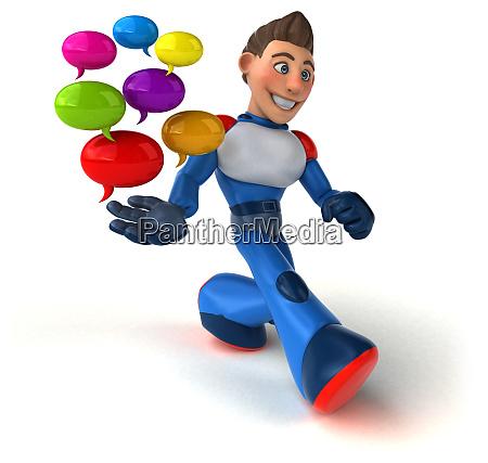 super moderne superheld 3d illustration