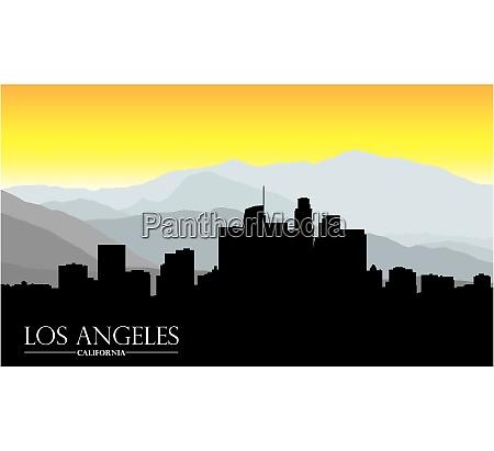 los angeles california skyline mit bergen