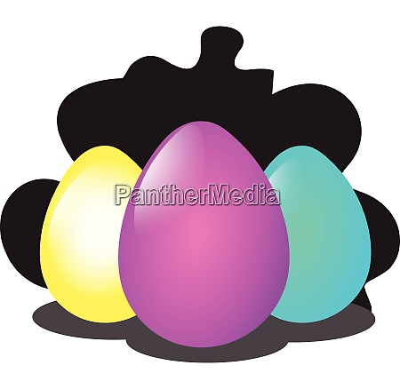 yellow pink and blue easter eggs